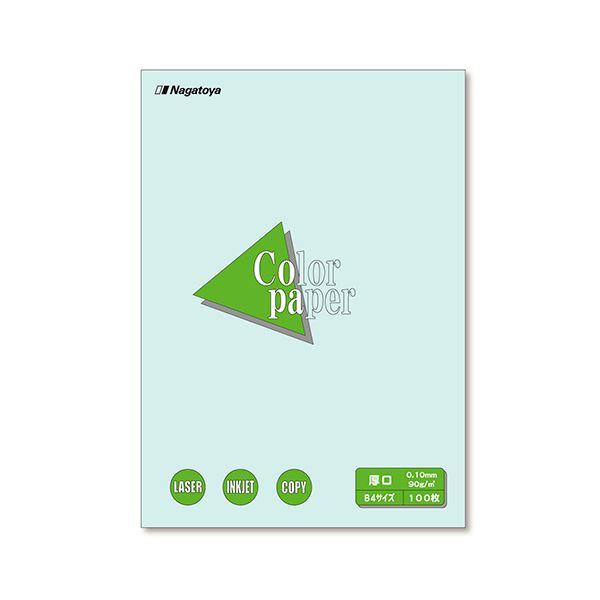 (まとめ) 長門屋商店 Color Paper B4 厚口 水 ナ-2310 1冊(100枚) 【×10セット】