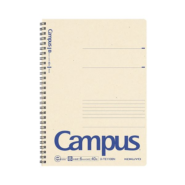 (まとめ) コクヨキャンパス再生紙ツインリングノート セミB5 B罫 40枚 ス-TE110BN 1冊 【×50セット】