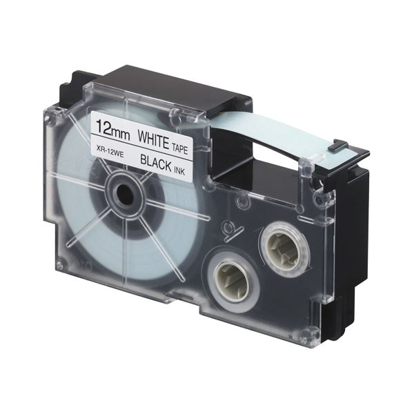 (まとめ)カシオ NAME LANDスタンダードテープ 12mm×8m 白/黒文字 XR-12WE 1セット(5個)【×3セット】