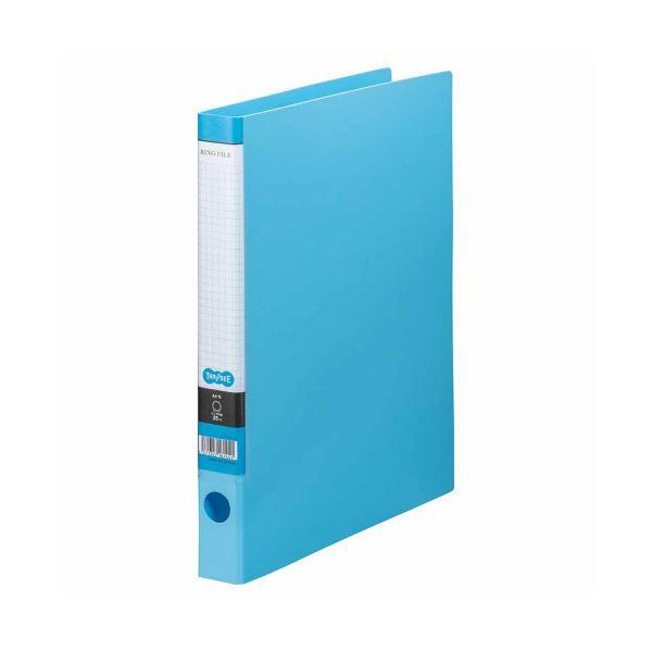 (まとめ) TANOSEE Oリングファイル A4タテ 2穴 170枚収容 背幅35mm ライトブルー 1セット(10冊) 【×5セット】