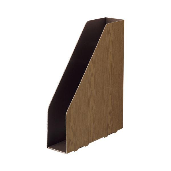 (まとめ) TANOSEEボックスファイル(WOODY) A4スリムタテ 背幅65mm ブラウン 1セット(15冊:3冊×5パック) 【×10セット】