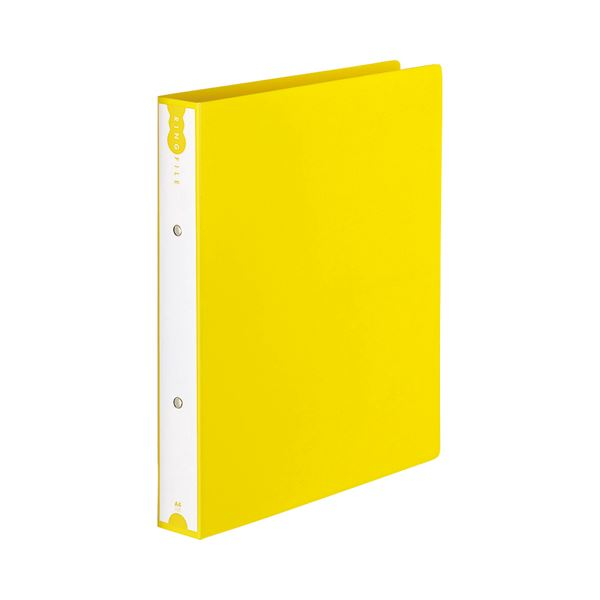 (まとめ) TANOSEE リングファイル(PP表紙) A4タテ 2穴 260枚収容 背幅42mm イエロー 1セット(10冊) 【×5セット】