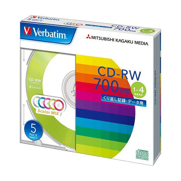 (まとめ) バーベイタム データ用CD-RW700MB 4倍速 5色カラーMIX 5mmスリムケース SW80QM5V1 1パック(5枚) 【×10セット】