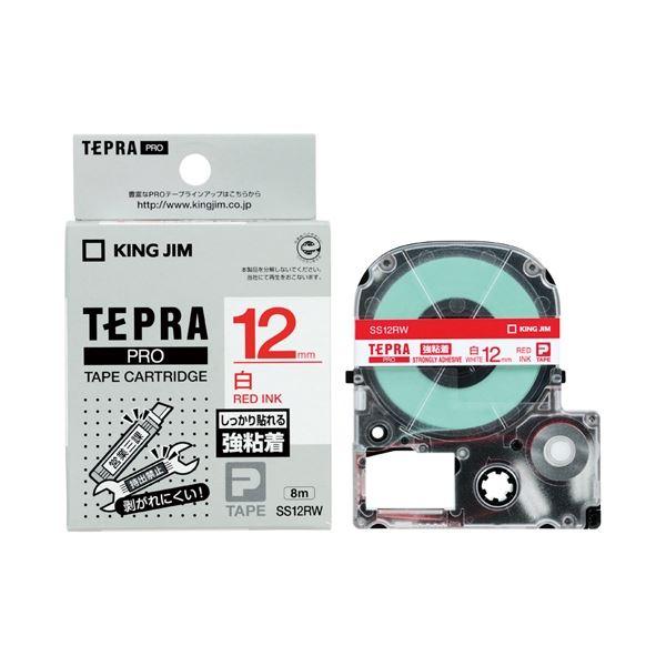 (まとめ)キングジム テプラPROテープ強粘着 白/赤文字 SS12RW【×30セット】
