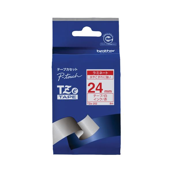 (まとめ) ブラザー BROTHER ピータッチ TZeテープ ラミネートテープ 24mm 白/赤文字 TZE-252 1個 【×10セット】