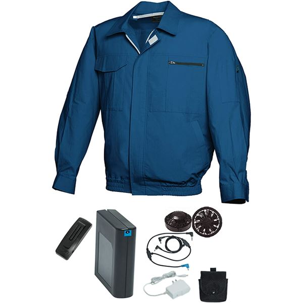 空調服/作業着 【L ダークブルー ブラックファン】 バッテリーセット 綿100% 吸収性 着心地・肌触り抜群 『FAN FIT FF91800』