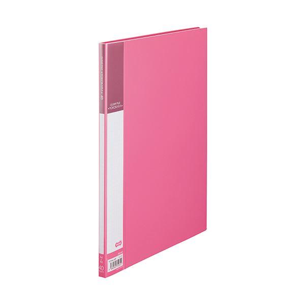 (まとめ) TANOSEE書類が入れやすいクリヤーファイル「ヨコカラ」 A4タテ 40ポケット 背幅11mm ピンク 1冊 【×30セット】