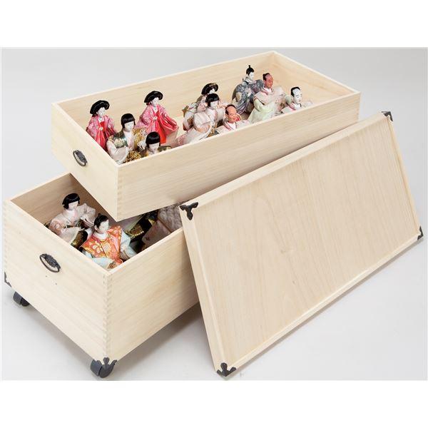 桐製 雛人形ケース/収納ボックス 【2段】 約42×82×53cm 木製 通気性 防湿性 キャスター付き アリ組み仕上げ NEW【代引不可】