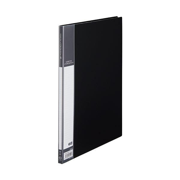 (まとめ) TANOSEE書類が入れやすいクリヤーファイル「ヨコカラ」 A4タテ 40ポケット 背幅11mm ダークグレー 1冊 【×30セット】