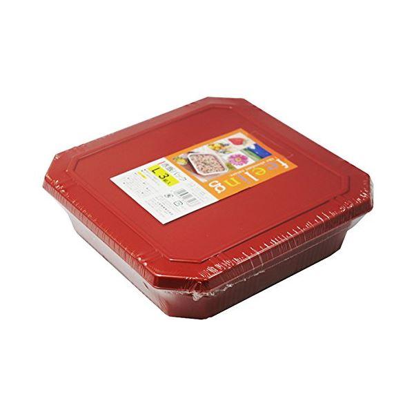 (まとめ) フードパック/赤飯パック 【Lサイズ 3組入り】 フタ付き 〔弁当箱 使い捨て容器 プラスチック容器〕 【60個セット】