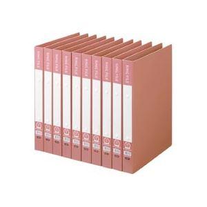(まとめ) TANOSEE リングファイル(再生PP表紙) A4タテ 2穴 200枚収容 背幅30mm ピンク 1セット(10冊) 【×5セット】