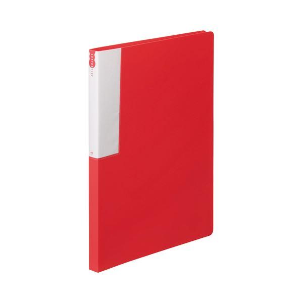 (まとめ) TANOSEE レターファイル(PP) A4タテ 120枚収容 背幅18mm レッド 1冊 【×50セット】