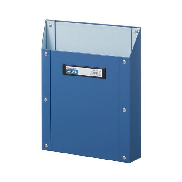 (まとめ) TANOSEEマグネットボックス(貼り表紙) A4タテ型 青 1個 【×10セット】