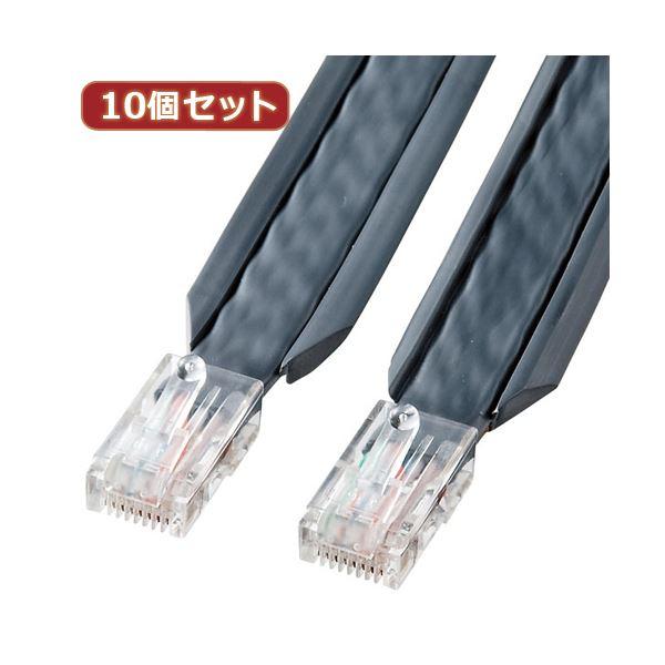 10個セット サンワサプライ アンダーカーペットLANケーブル(グレー・5m) KB-CP5-05X10