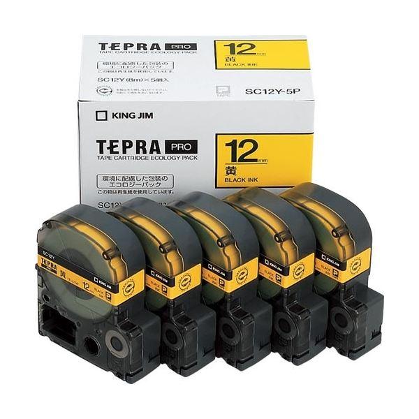 (まとめ)キングジム テプラ PRO テープカートリッジ パステル 12mm 黄/黒文字 SC12Y-5P 1パック(5個)【×3セット】