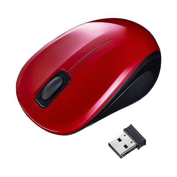 (まとめ) サンワサプライ 静音ワイヤレスブルーLEDマウス 2ボタン レッド MA-WBL32R 1個 【×5セット】