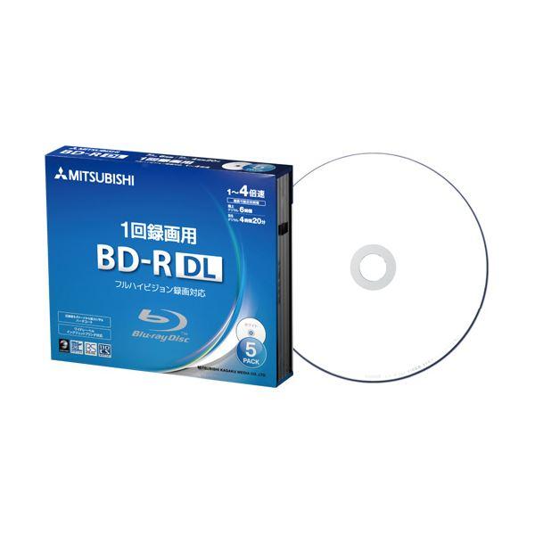 (まとめ) 三菱ケミカルメディア 録画用BD-RDL 260分 1-4倍速 ホワイトワイドプリンタブル 5mmスリムケース VBR260YP5D11パック(5枚) 【×10セット】