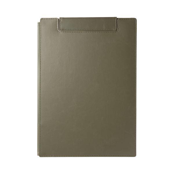 (まとめ)キングジム レザフェスUクリップボード(カバー付)A4 オリーブ 1932LU 1枚【×5セット】
