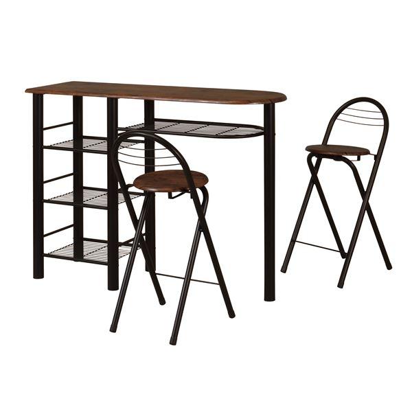ハイテーブルセット 【チェア2脚付き ブラック】 テーブル幅1200mm スチールフレーム 棚付き 〔リビング ダイニング〕 組立品【代引不可】