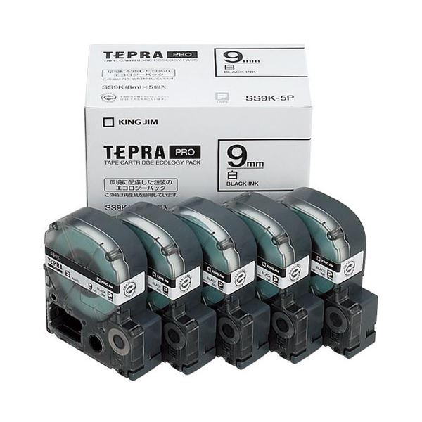 (まとめ)キングジム テプラ PRO テープカートリッジ 9mm 白/黒文字 SS9K-5P 1パック(5個)【×3セット】