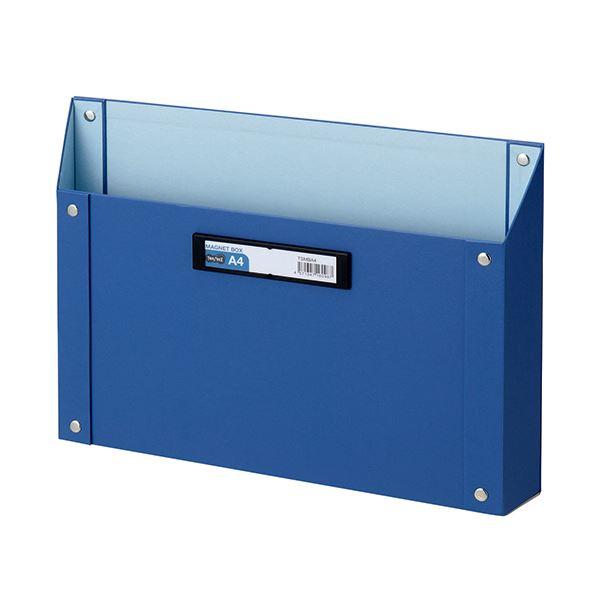 (まとめ) TANOSEE マグネットボックス(貼り表紙) A4サイズ 青 1個 【×10セット】