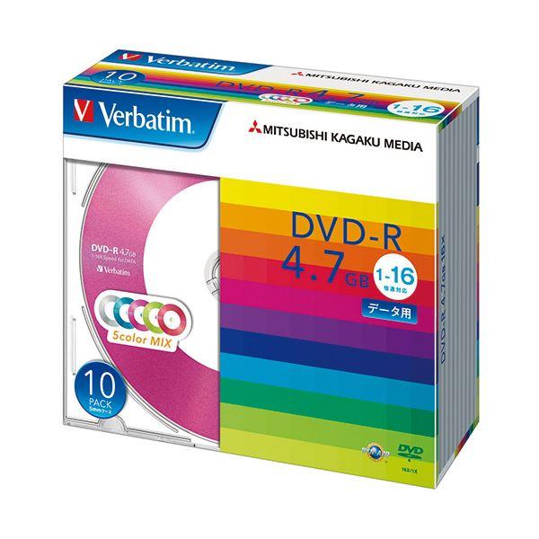 (まとめ) バーベイタム データ用DVD-R4.7GB 1-16倍速 5色カラーMIX 5mmスリムケース DHR47JM10V11パック(10枚:各色2枚) 【×10セット】
