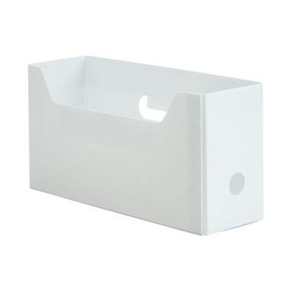 (まとめ)TANOSEE PP製ボックスファイル(組み立て式)A4ヨコ ショートサイズ ホワイト 1セット(10個)【×5セット】