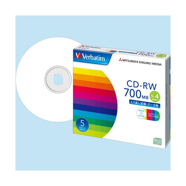 (まとめ) バーベイタム データ用CD-RW700MB 4倍速 ホワイトプリンタブル 5mmスリムケース SW80QP5V1 1パック(5枚) 【×10セット】