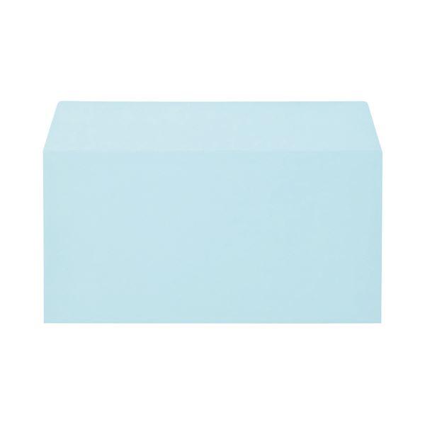 (まとめ) キングコーポレーション ソフトカラー封筒 のり付 洋0(洋長3) 100g/m2 ブルー 162023 1パック(100枚) 【×10セット】