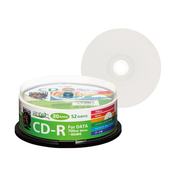 (まとめ) ハイディスク データ用CD-R700MB 52倍速 ホワイトワイドプリンタブル スピンドルケ―ス HDCR80GP20 1パック(20枚) 【×30セット】