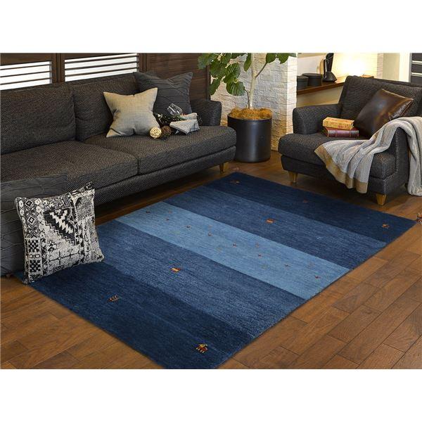 ギャッベ ラグマット/絨毯 【約70×120cm ブルー】 ウール100% 保温機能 調湿効果 オールシーズン対応 〔リビング〕【代引不可】