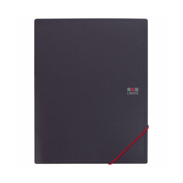 (まとめ) ライオン事務器ホルダーブック(リベルテ) A5タテ(見開きA4) 8ポケット ブラック HB-302L 1冊 【×30セット】
