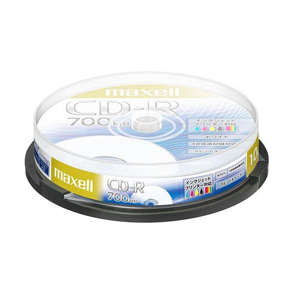 (まとめ) マクセル データ用CD-R 700MB48倍速 ホワイトプリンタブル スピンドルケース CDR700S.PNW.10SP 1パック(10枚) 【×30セット】