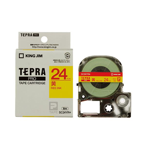 (まとめ) キングジム テプラ PRO テープカートリッジ パステル 24mm 黄/赤文字 SC24YR 1個 【×10セット】