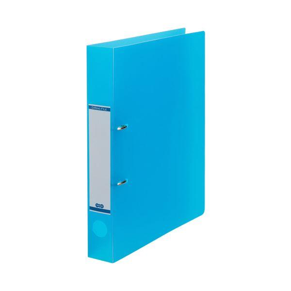 (まとめ) TANOSEEDリングファイル(半透明表紙) A4タテ 2穴 250枚収容 背幅43mm ブルー 1セット(10冊) 【×10セット】