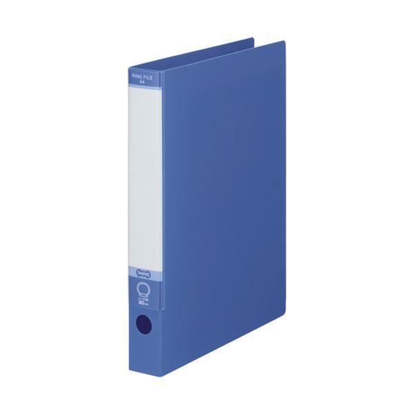 TANOSEE ワンタッチ開閉Oリングファイル A4タテ 2穴 220枚収容 背幅40mm ブルー 1セット(30冊)