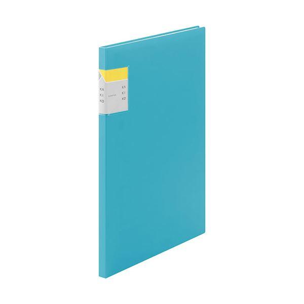(まとめ) キングジム クリアーファイル カキコA4タテ 20ポケット(小口10枚) 背幅13mm 水色 8632ミス 1冊 【×30セット】