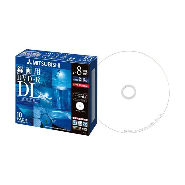 (まとめ) 三菱ケミカルメディア 録画用DVD-RDL 215分 2-8倍速 ホワイトワイドプリンタブル 5mmスリムケース VHR21HDSP101パック(10枚) 【×10セット】