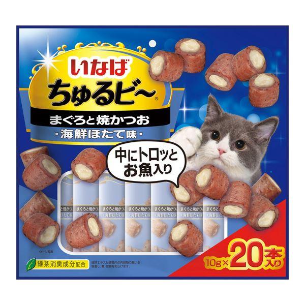 (まとめ)いなば ちゅるビ~ 20袋入り まぐろと焼かつお 海鮮ほたて味 (ペット用品・猫フード)【×12セット】