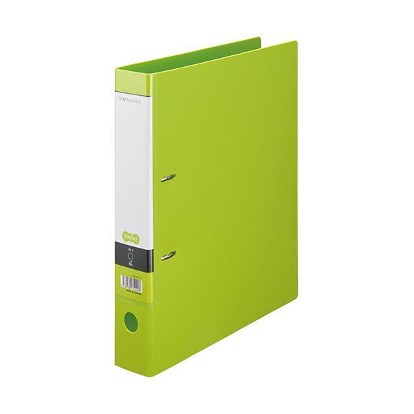 (まとめ)TANOSEE DリングファイルA4タテ 2穴 350枚収容 背幅53mm ライトグリーン 1冊 【×20セット】