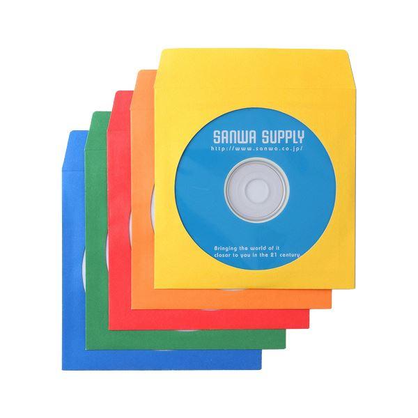 (まとめ) サンワサプライDVD・CDペーパースリーブケース ミックスカラー FCD-PS100MXN 1パック(100枚) 【×10セット】
