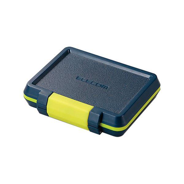 (まとめ) エレコムSD/microSDカードケース 耐衝撃 ネイビー CMC-SDCHD01NV 1個 【×10セット】