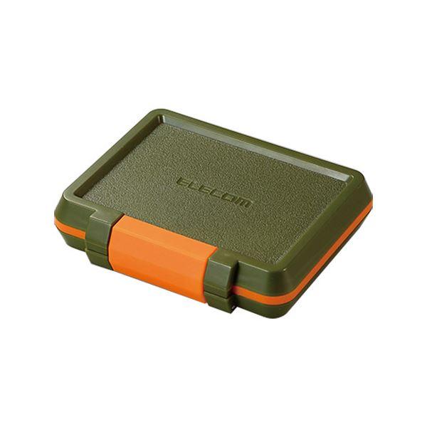 (まとめ) エレコムSD/microSDカードケース 耐衝撃 カーキ CMC-SDCHD01GN 1個 【×10セット】