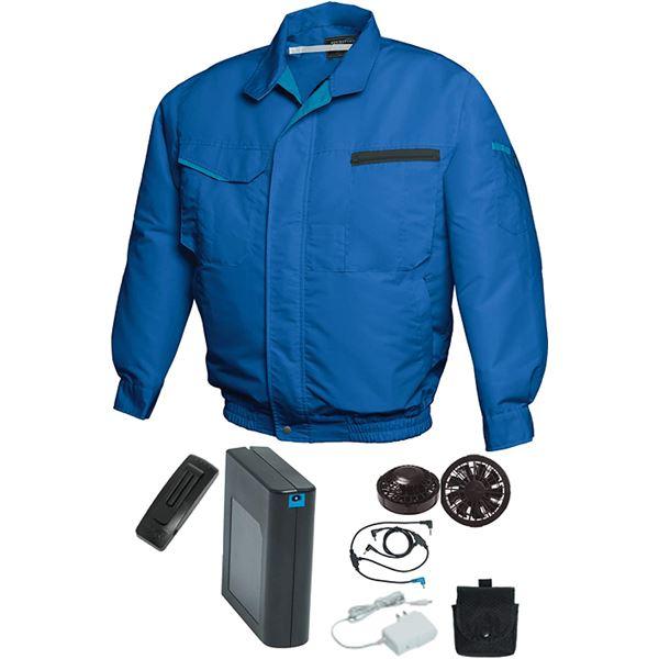 空調服/作業着 【4L ブルー ブラックファン】 バッテリーセット 綿・ポリエステル混紡 洗濯耐久性 『FAN FIT FF91810』