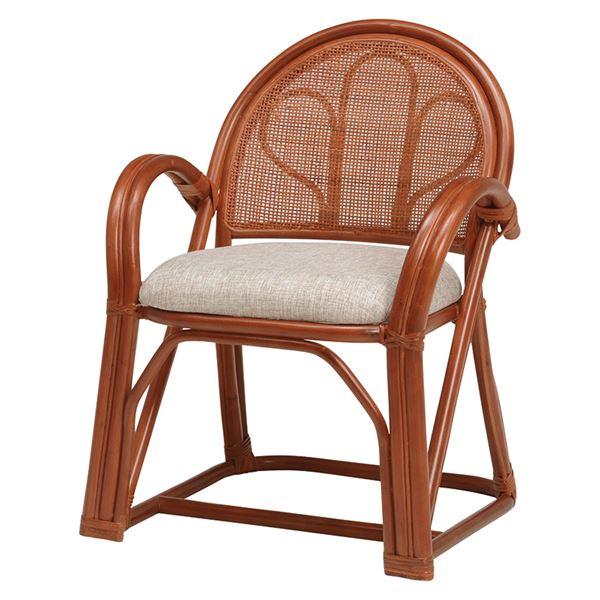 籐楽々座椅子 【2台セット】 ハイタイプ ブラウン R673BR【代引不可】