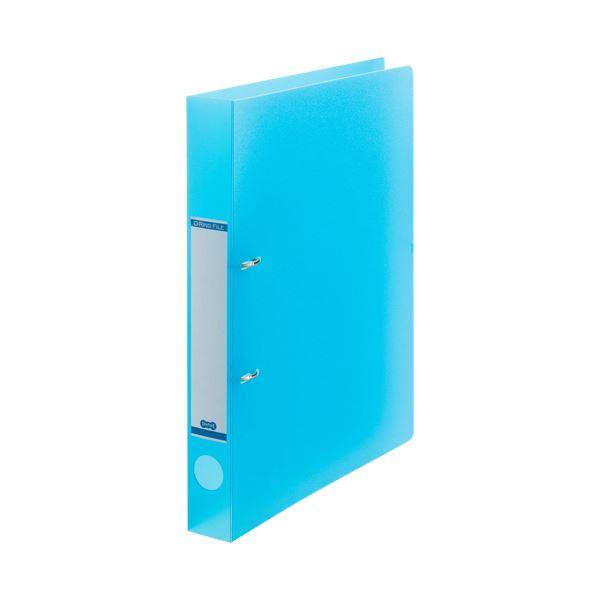 (まとめ) TANOSEEDリングファイル(半透明表紙) A4タテ 2穴 200枚収容 背幅38mm ブルー 1セット(10冊) 【×10セット】