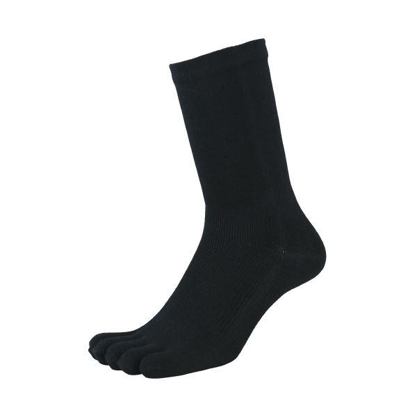 (まとめ)福徳産業 デオセル消臭靴下5本指 黒 L 2足組(×20セット)