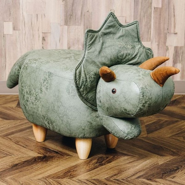 恐竜モチーフのスツール Triceratops(トリケラトプス)カーキ
