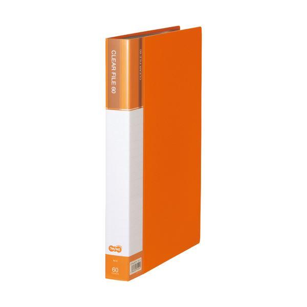 (まとめ) TANOSEEクリヤーファイル(台紙入) A4タテ 60ポケット 背幅34mm オレンジ 1セット(6冊) 【×5セット】