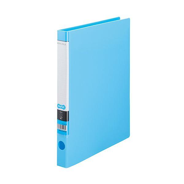 (まとめ) TANOSEE OリングファイルA4タテ 2穴 150枚収容 背幅32mm ライトブルー 1セット(10冊) 【×10セット】